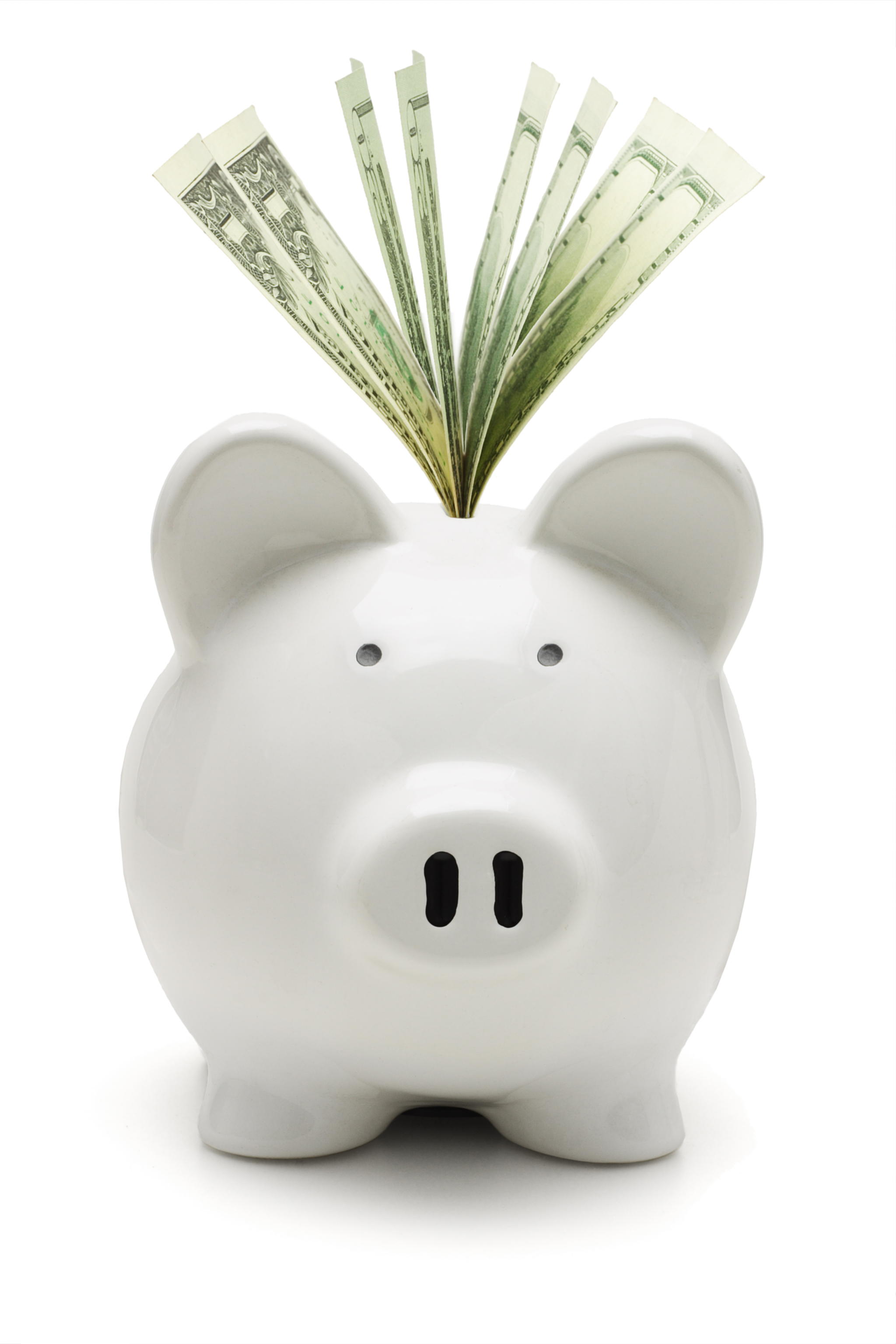 White piggy bank and US dollars on white background